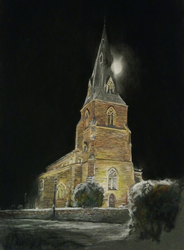 church at night commission