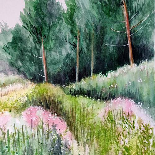 watercolour textured landscape online workshop